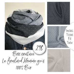 Box couture Foulard homme gris
